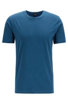 T-Shirt mit Rundhalsausschnitt aus garngefärbtem Single Jersey, Türkis