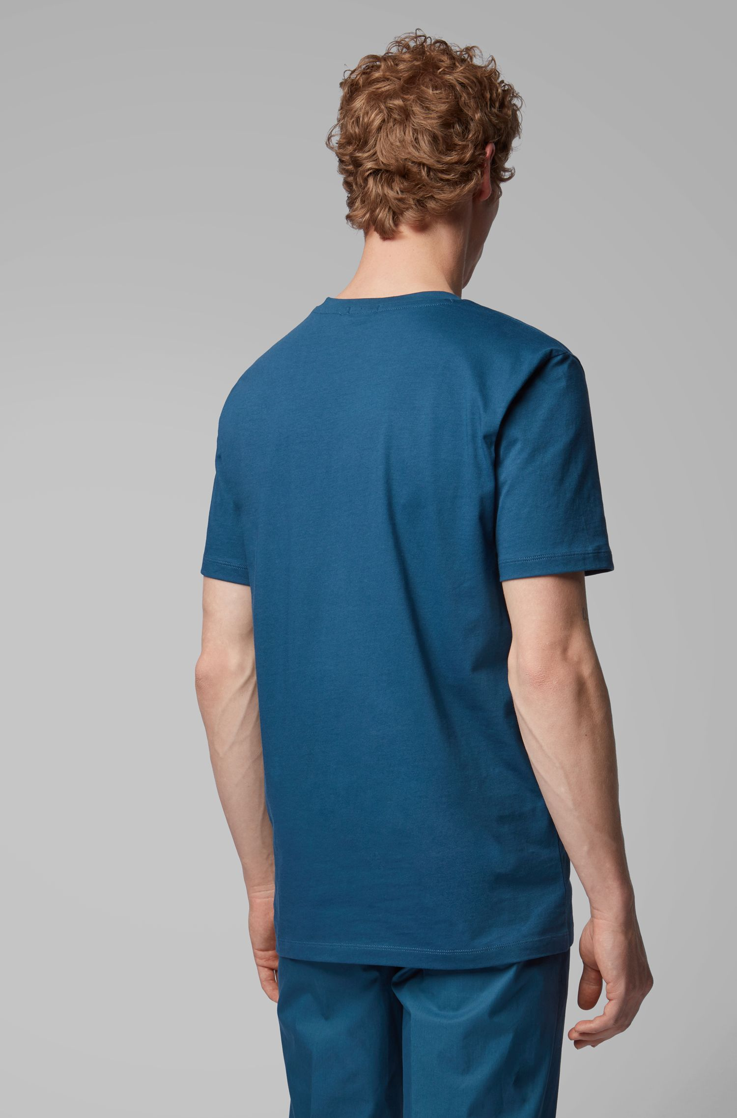 Crew-neck T-shirt in yarn-dyed single jersey, Blue