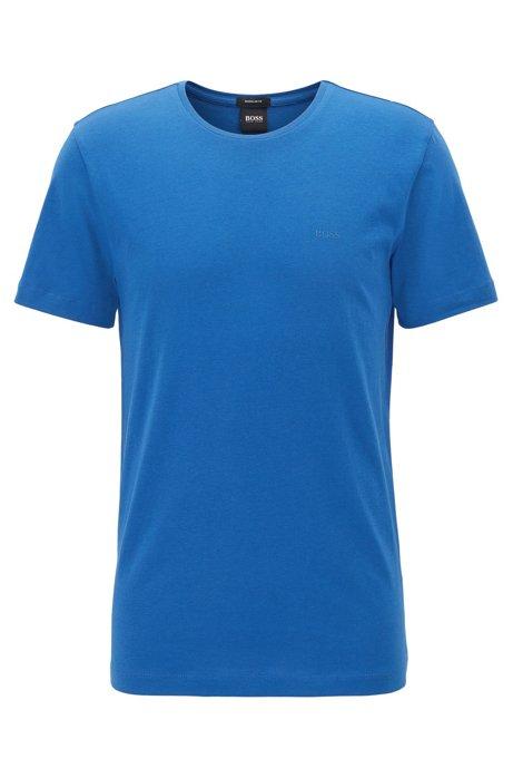 T-shirt met ronde hals van garengeverfde singlejersey, Blauw