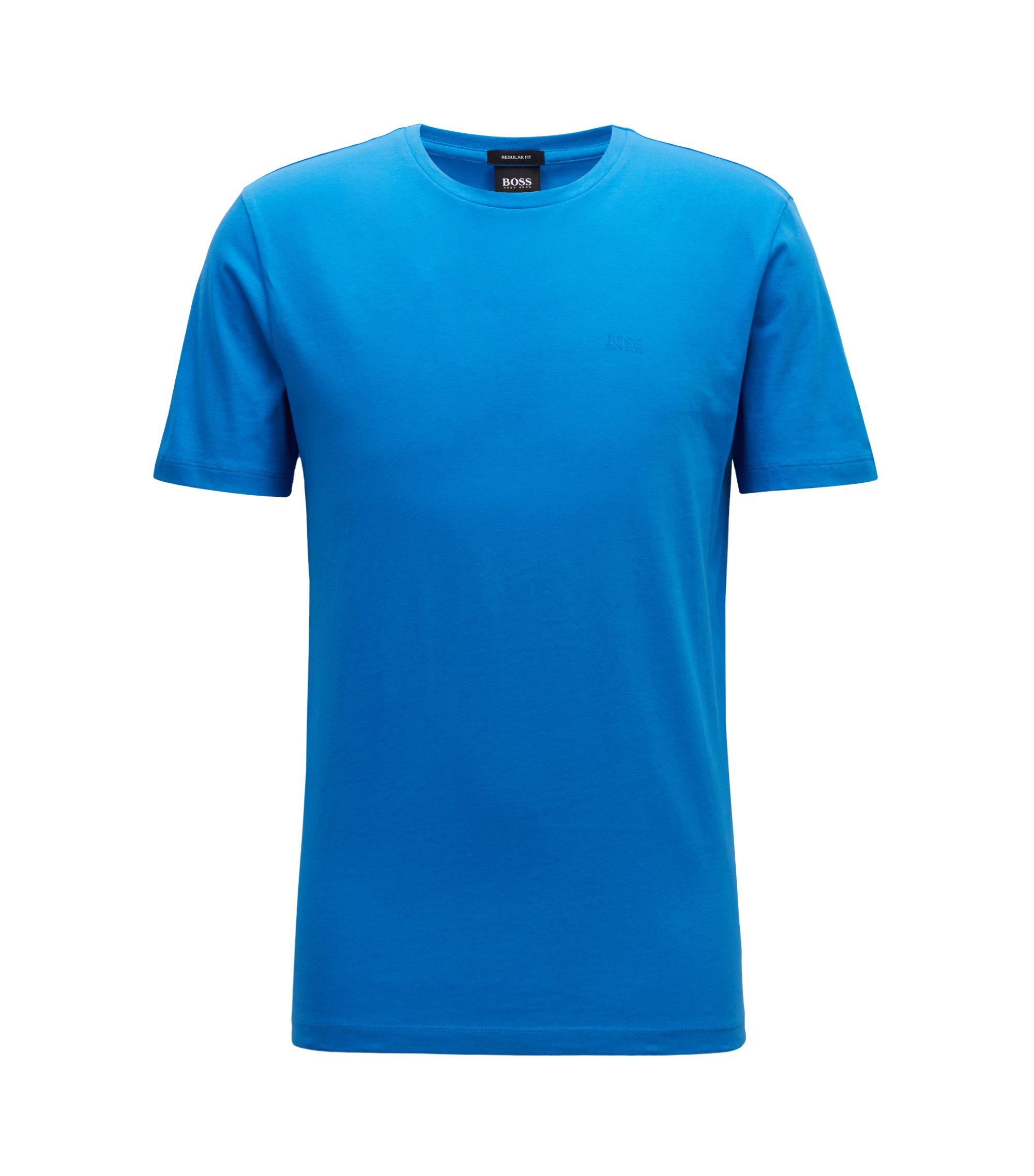 T-shirt à col ras-du-cou en jersey simple tissé-teint, Bleu