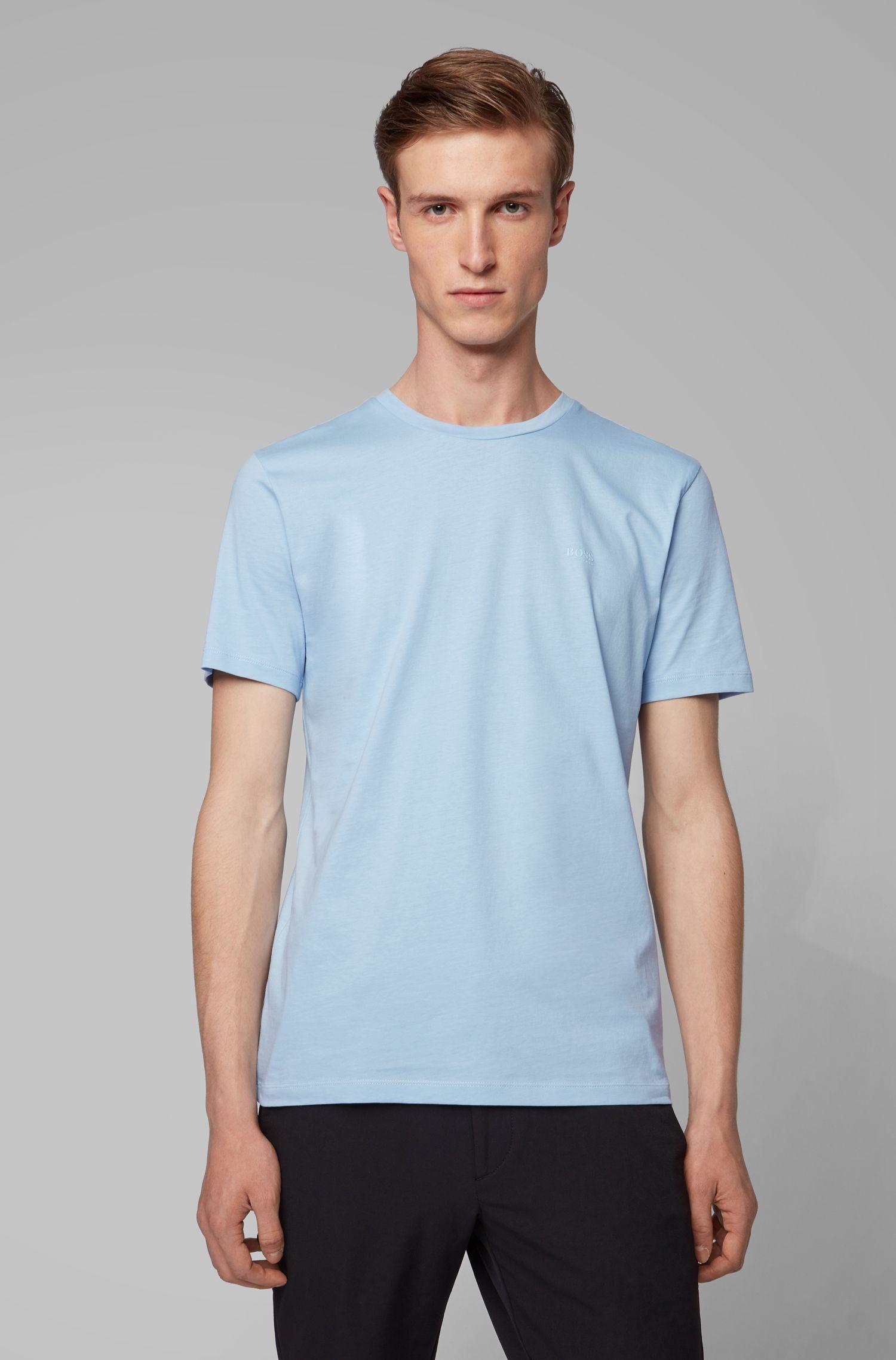 T-shirt a girocollo in jersey tinto in filo, Celeste