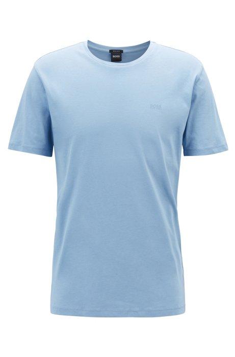Camiseta de cuello redondo en punto sencillo teñido en hilo, Celeste