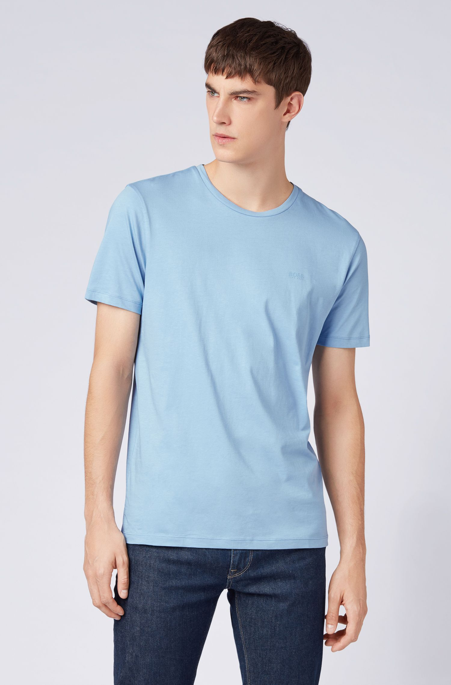 Crew-neck T-shirt in yarn-dyed single jersey, Light Blue