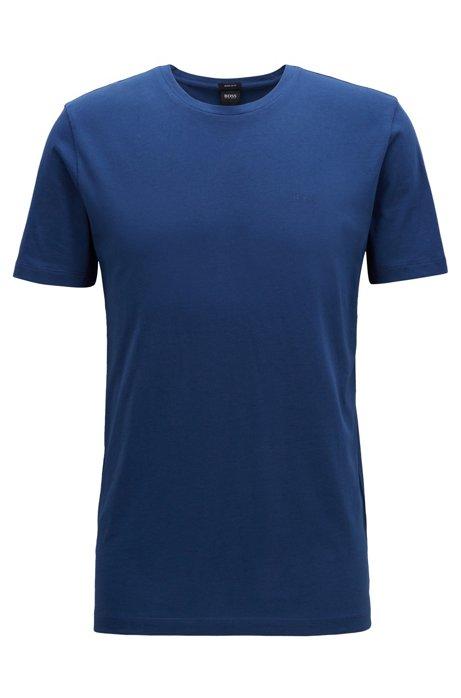 T-Shirt mit Rundhalsausschnitt aus garngefärbtem Single Jersey, Blau