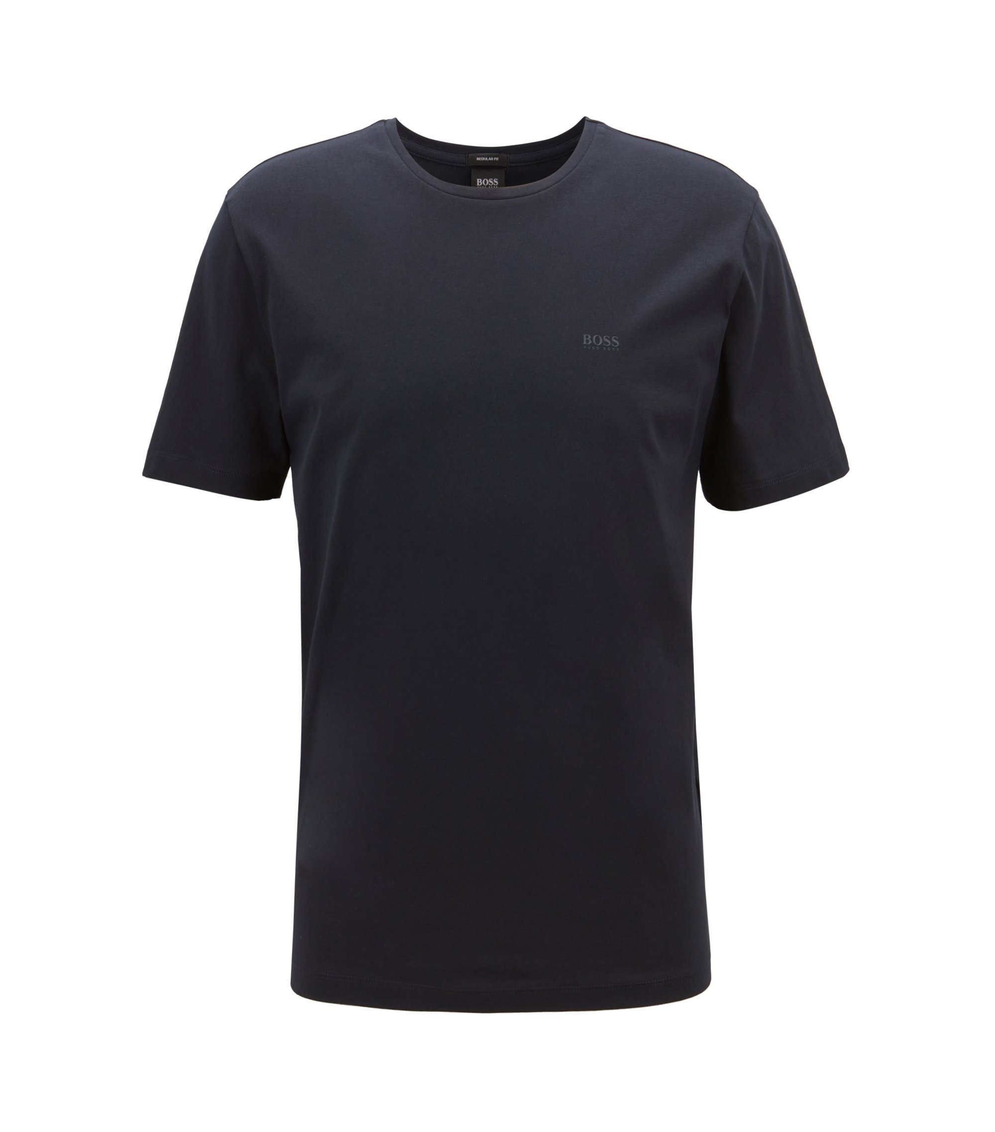 Crew-neck T-shirt in yarn-dyed single jersey, Dark Blue