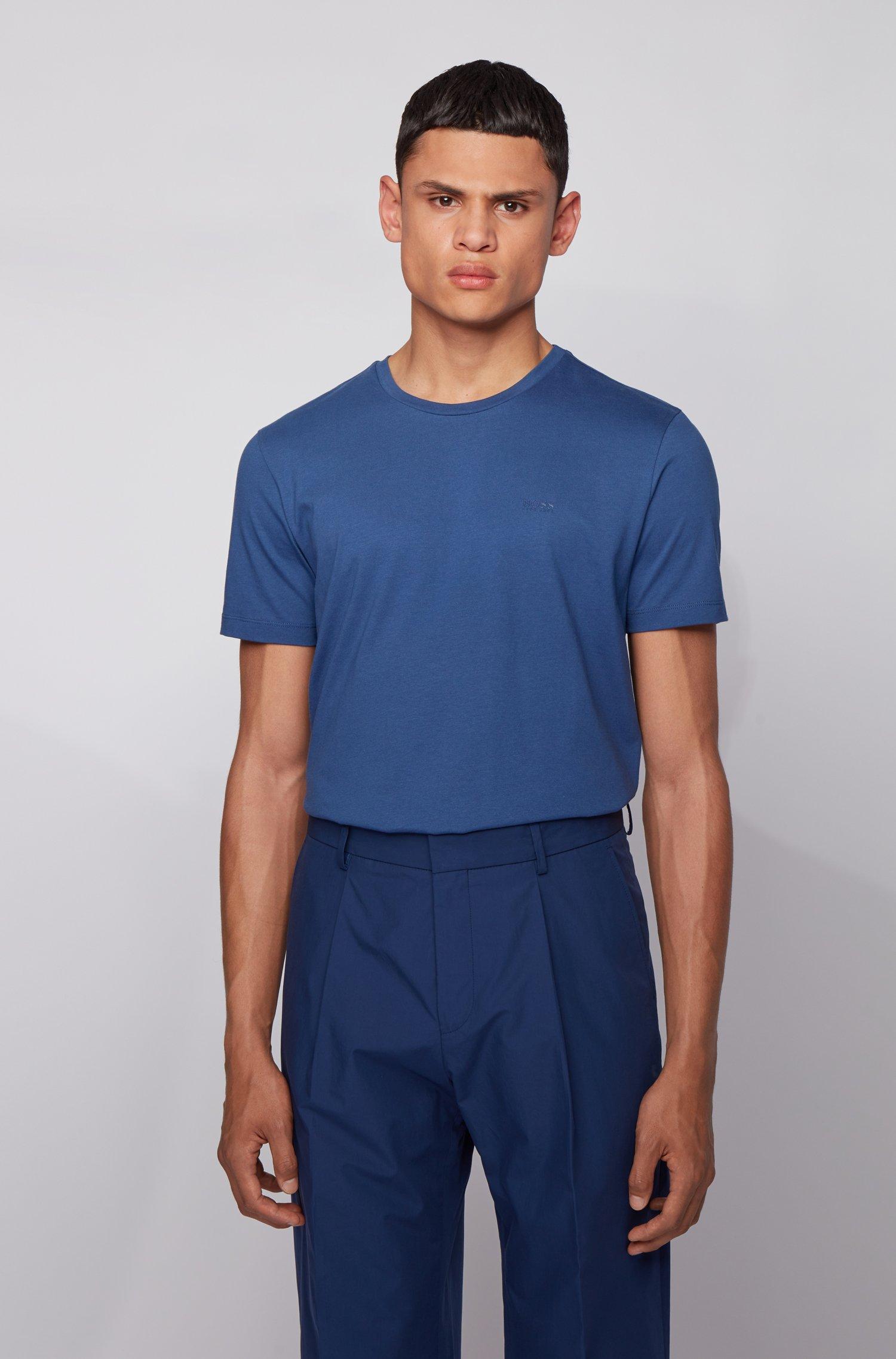 Crew-neck T-shirt in yarn-dyed single jersey, Light Blue