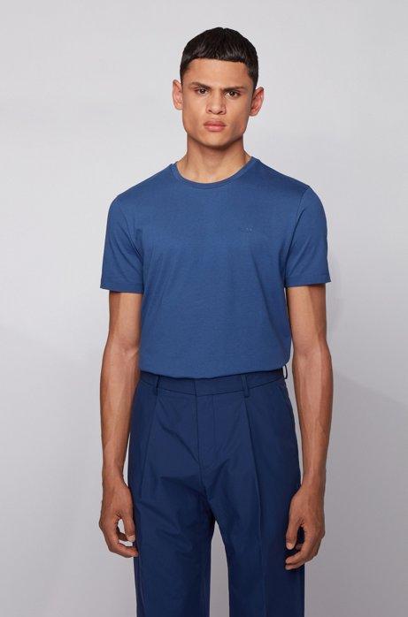 T-shirt met ronde hals van garengeverfde singlejersey, Lichtblauw