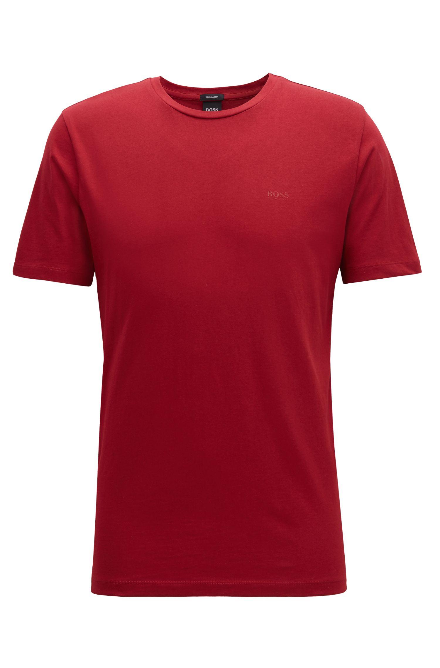 T-shirt a girocollo in jersey tinto in filo, Rosso scuro