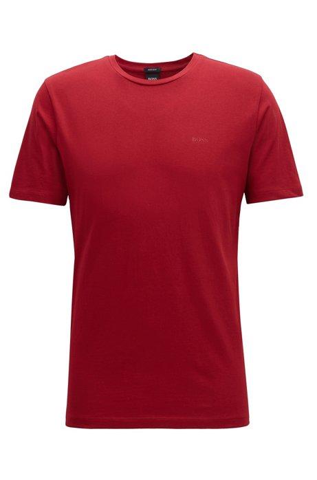 T-Shirt mit Rundhalsausschnitt aus garngefärbtem Single Jersey, Dunkelrot