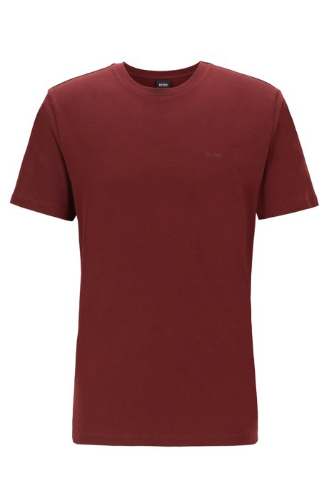 Crew-neck T-shirt in yarn-dyed single jersey, Dark Red