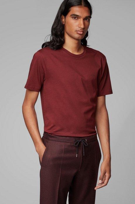 T-shirt met ronde hals van garengeverfde singlejersey, Donkerrood