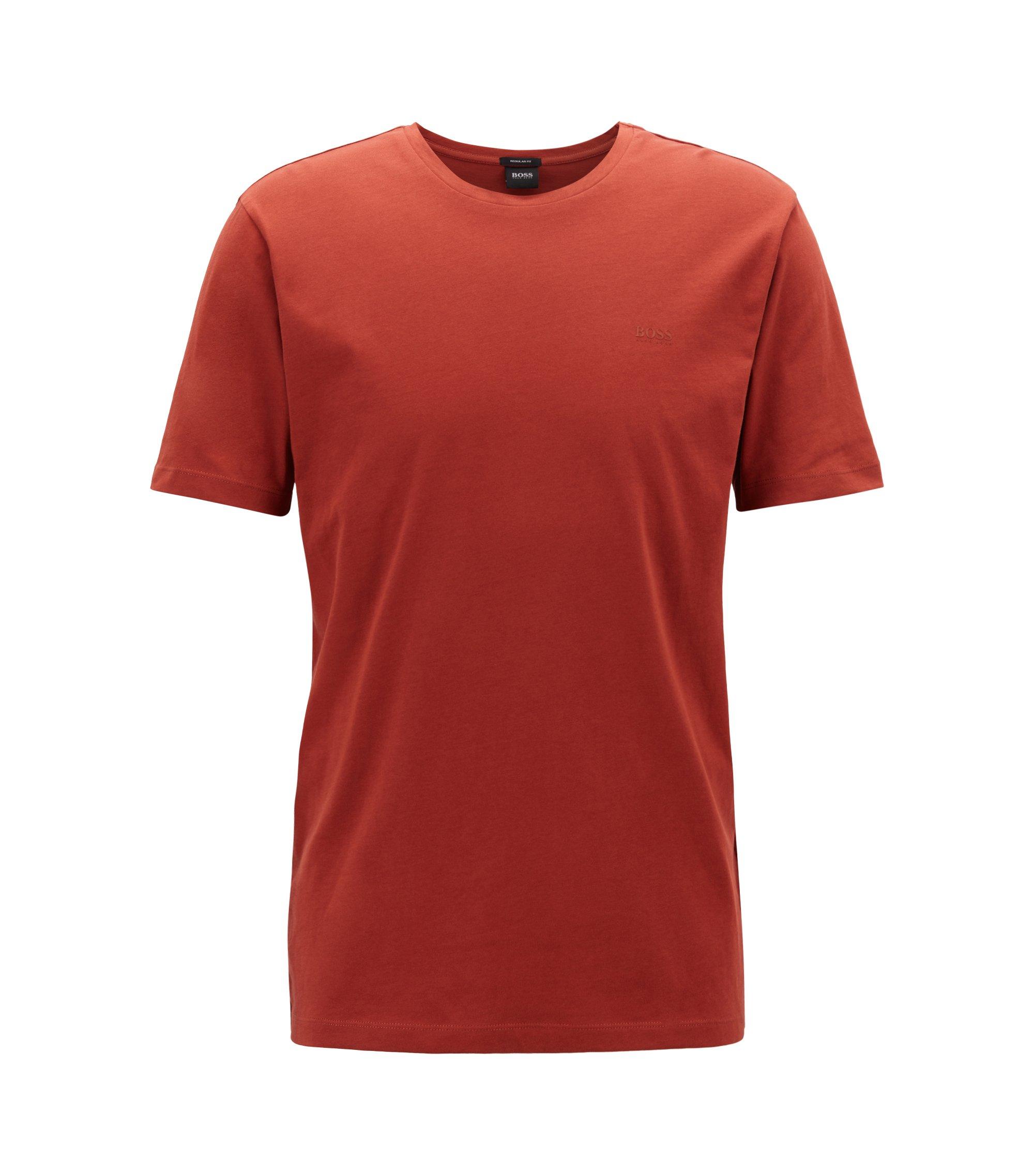 T-shirt à col ras-du-cou en jersey simple tissé-teint, Rouge sombre