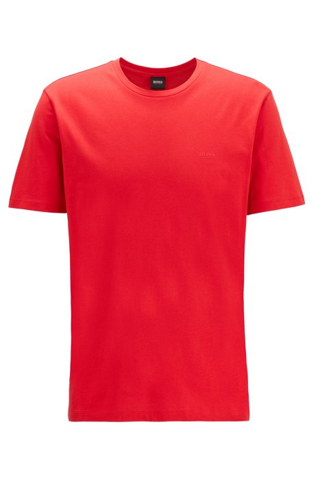 T-Shirt mit Rundhalsausschnitt aus garngefärbtem Single Jersey, Rot