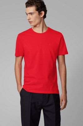 Crew-neck T-shirt in yarn-dyed single jersey, Red