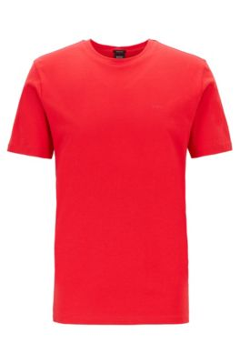 T-shirt met ronde hals van garengeverfde singlejersey, Rood