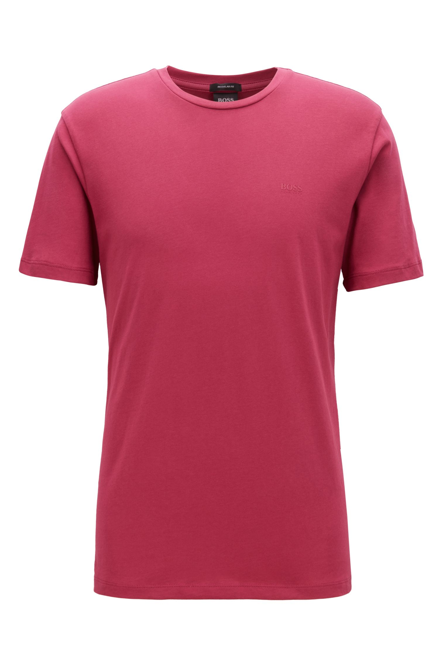 T-Shirt mit Rundhalsausschnitt aus garngefärbtem Single Jersey, Dunkelrosa