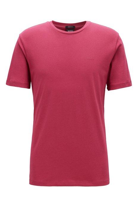 Camiseta de cuello redondo en punto sencillo teñido en hilo, Rosa oscuro
