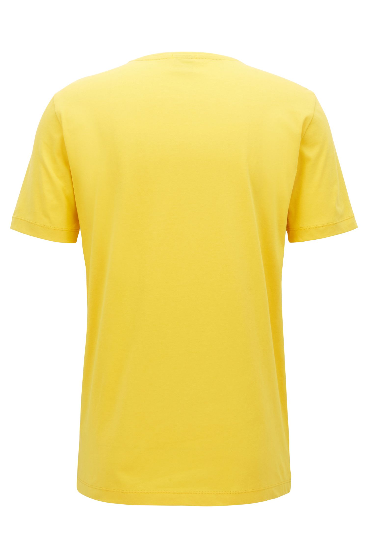 Crew-neck T-shirt in yarn-dyed single jersey