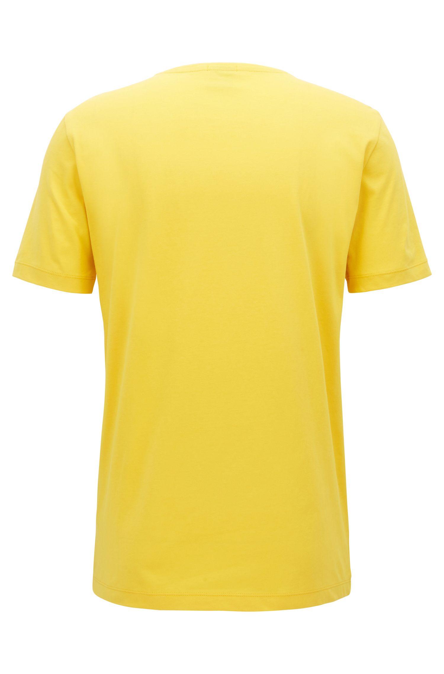 Camiseta de cuello redondo en punto sencillo teñido en hilo