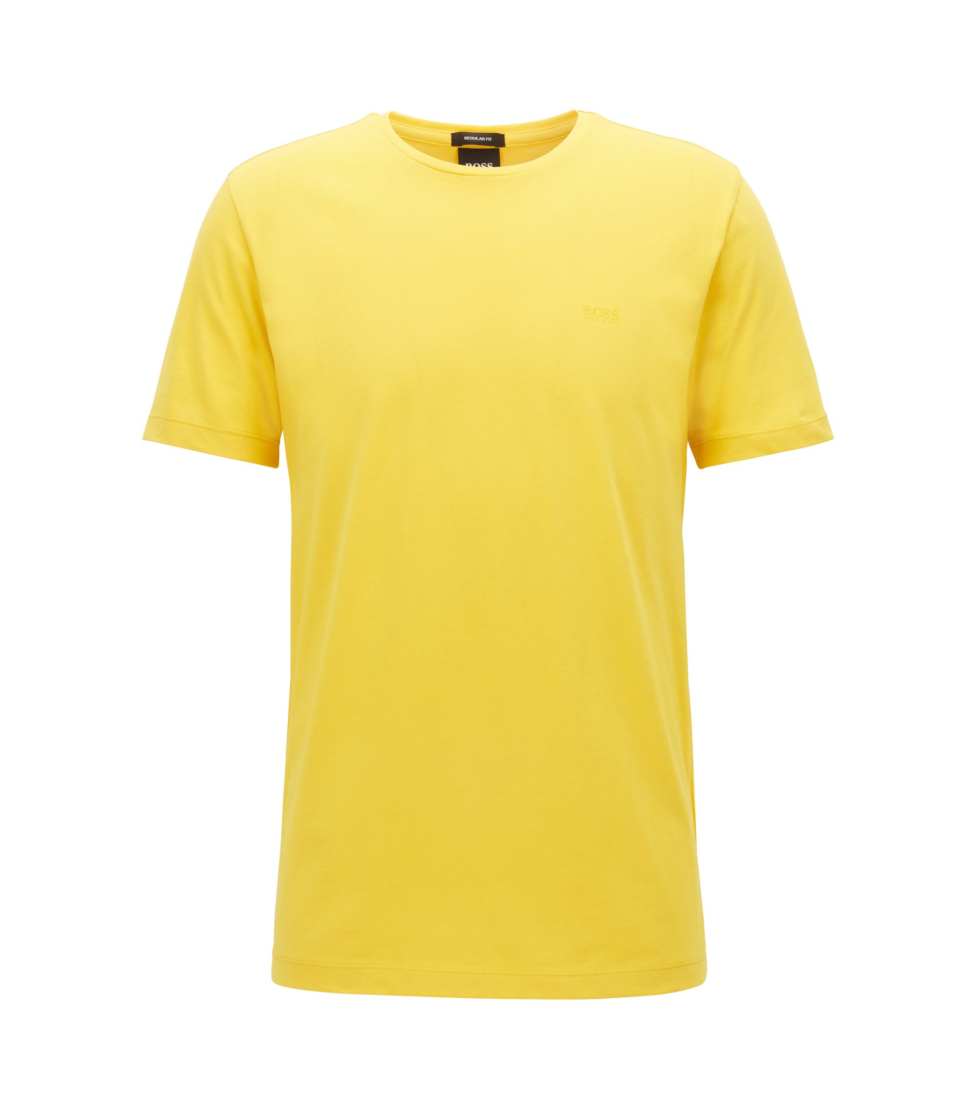 T-shirt a girocollo in jersey tinto in filo, Giallo