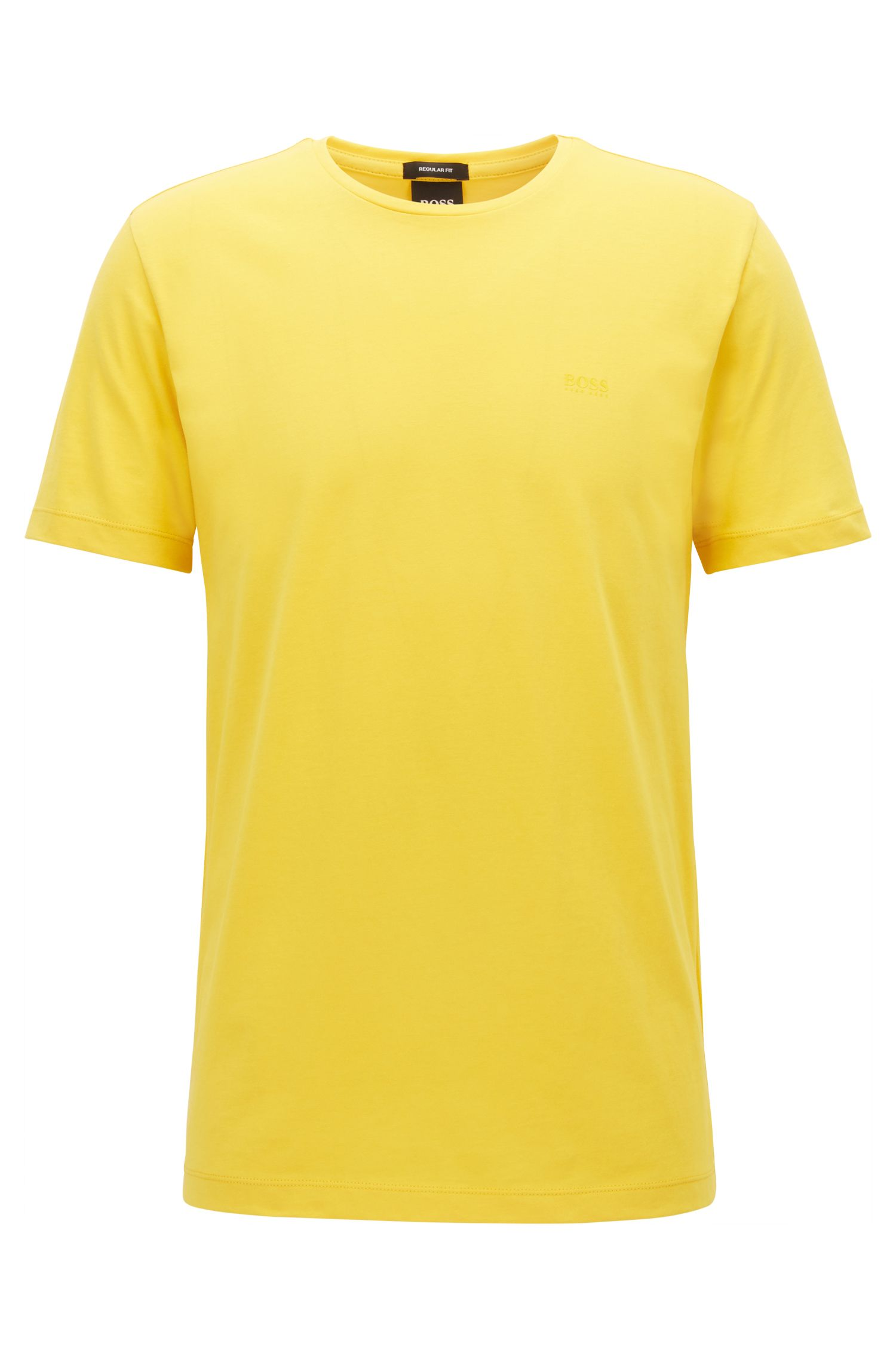 T-shirt a girocollo in jersey tinto in filo