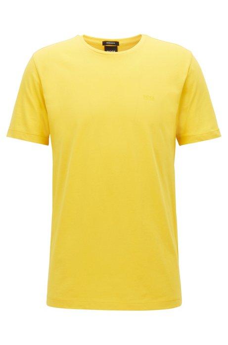 T-Shirt mit Rundhalsausschnitt aus garngefärbtem Single Jersey, Gelb