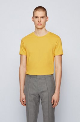 Crew-neck T-shirt in yarn-dyed single jersey, Yellow