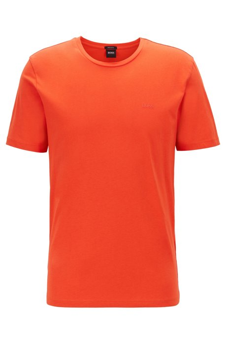 T-shirt à col ras-du-cou en jersey simple tissé-teint, Orange
