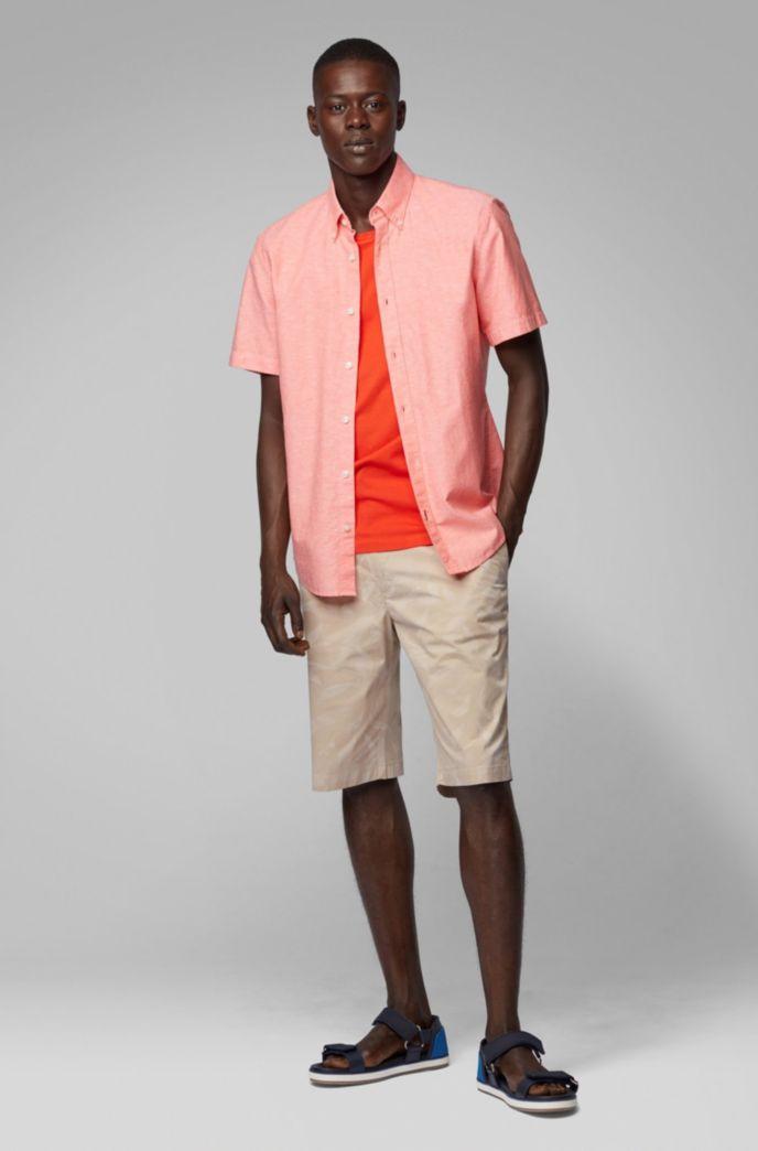 T-Shirt mit Rundhalsausschnitt aus garngefärbtem Single Jersey