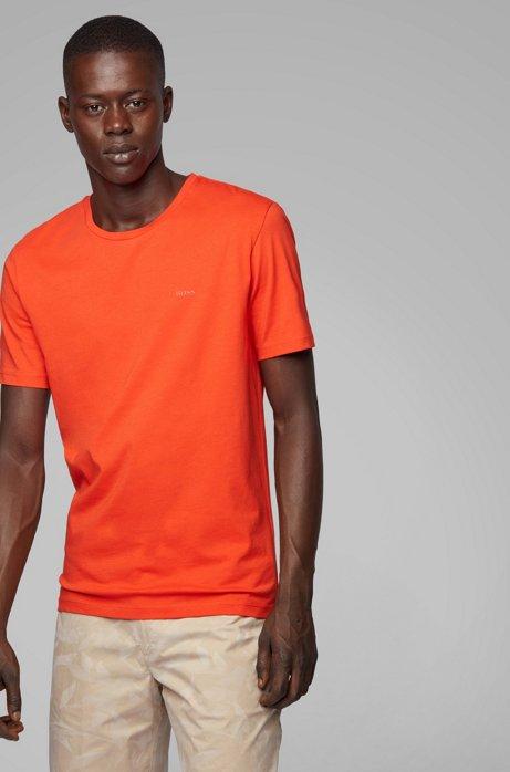 T-Shirt mit Rundhalsausschnitt aus garngefärbtem Single Jersey, Orange