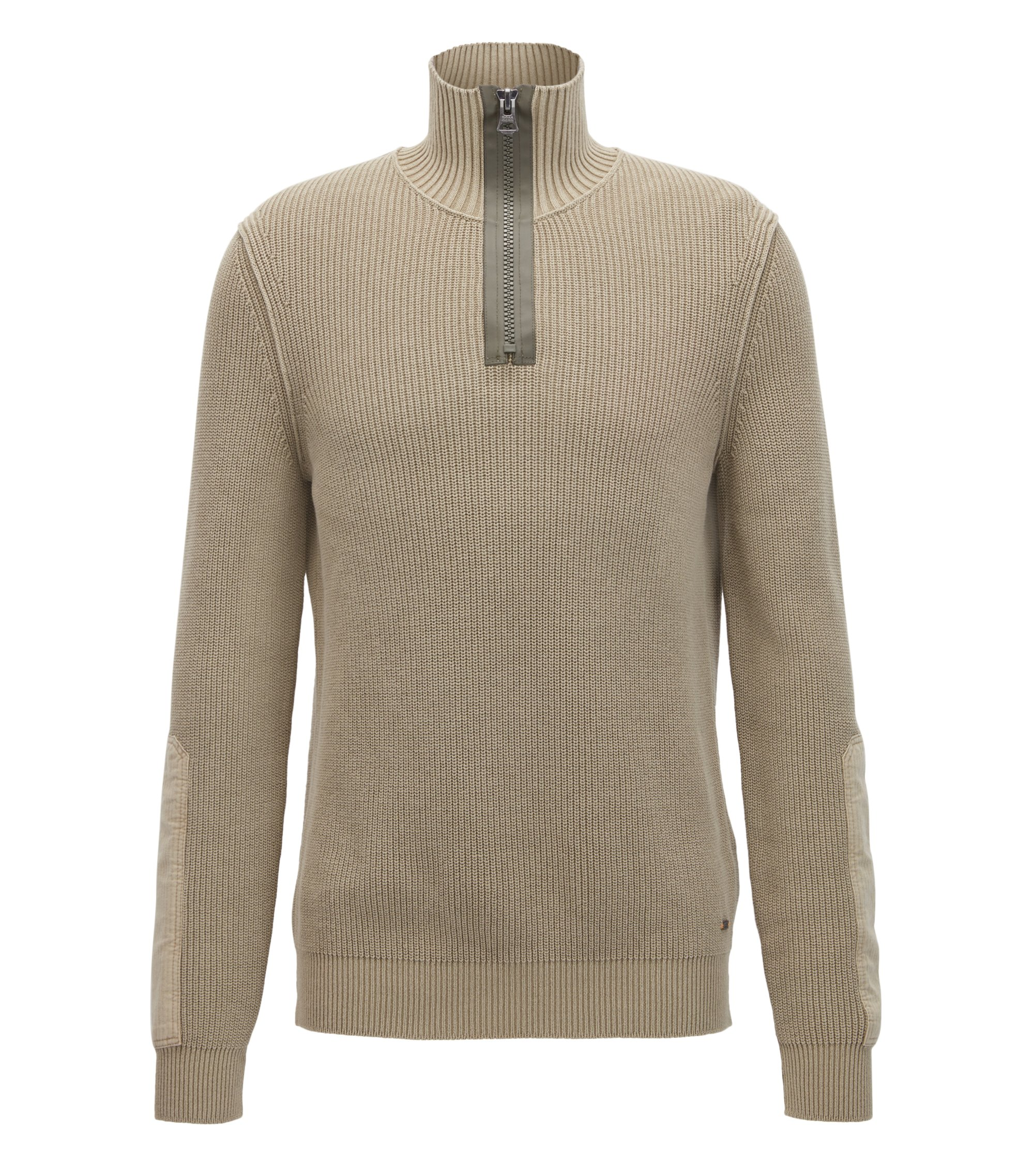 Stonewashed herringbone-knit cotton sweater with chunky-zip neck, Beige