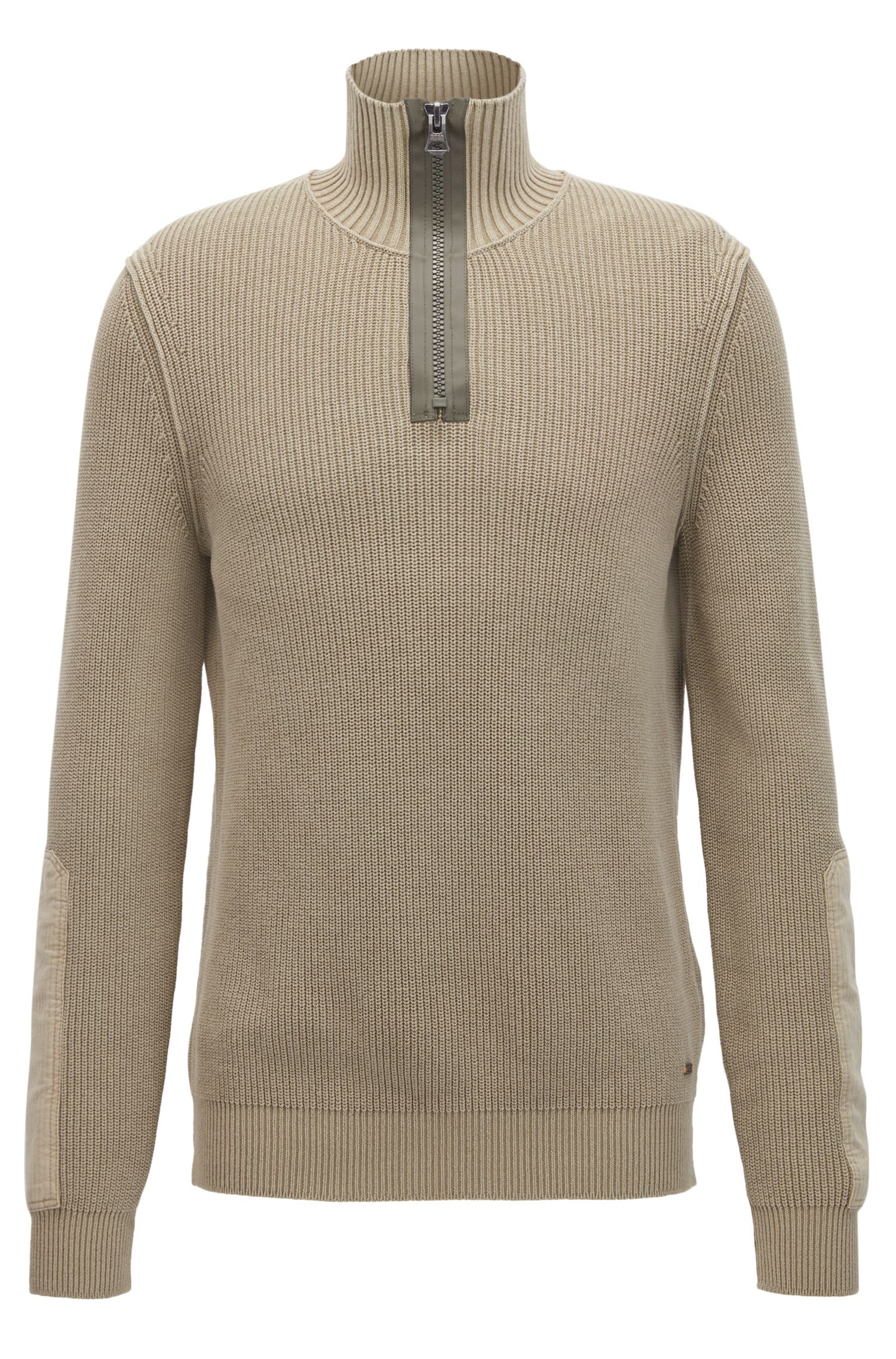 Stonewashed herringbone-knit cotton sweater with chunky-zip neck