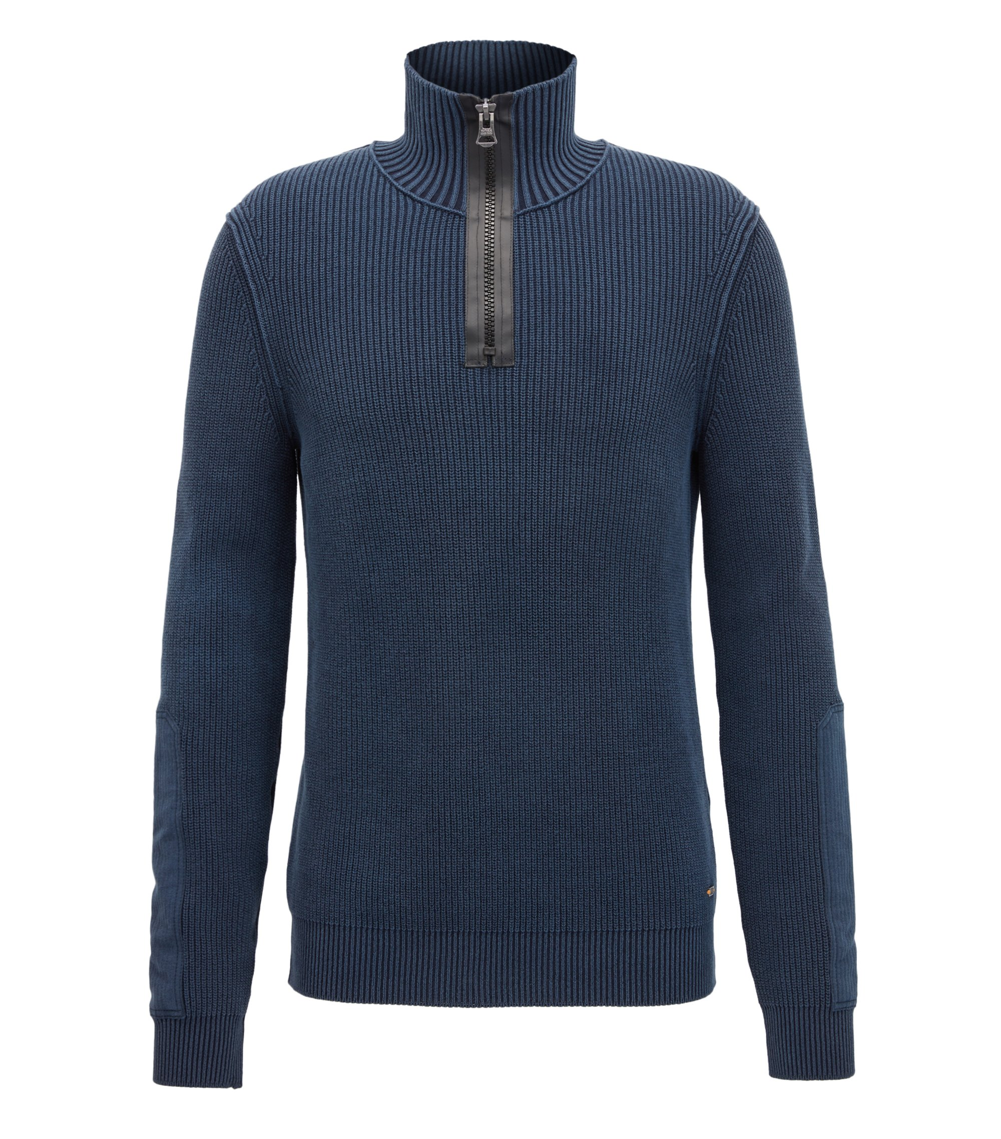 Stonewashed herringbone-knit cotton sweater with chunky-zip neck, Dark Blue