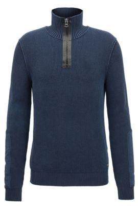 Pull en coton stone-washed en maille à motif chevrons avec col muni d'une grosse fermeture éclair, Bleu foncé