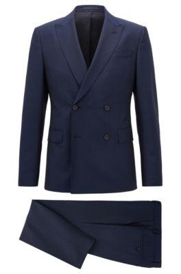 Zweireihiger Slim-Fit Anzug aus Schurwolle mit Mohair, Dunkelblau