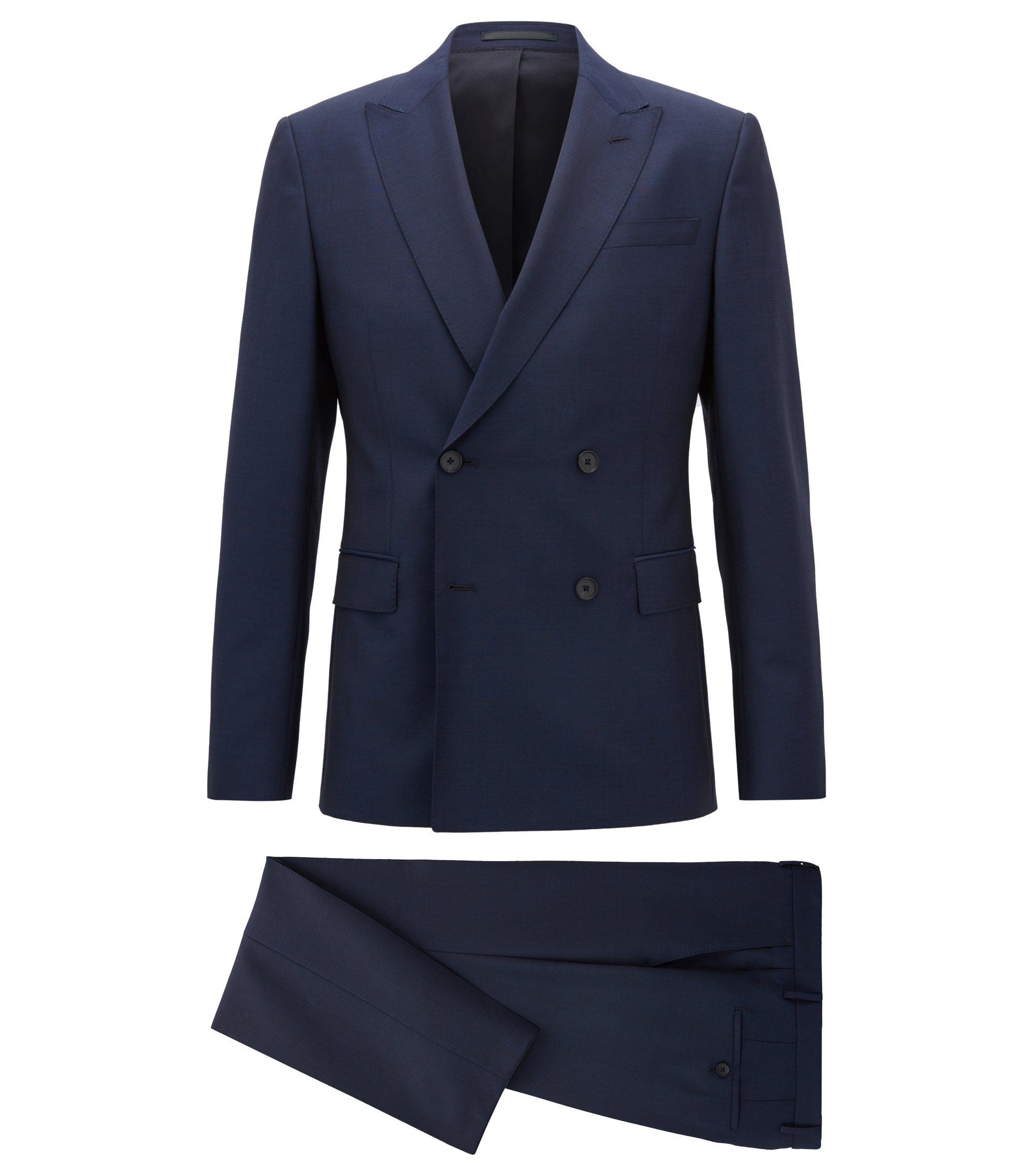 Double-breasted slim-fit suit in a wool blend, Dark Blue