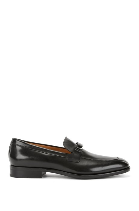Italian-made burnished leather loafers with branded hardware, Black