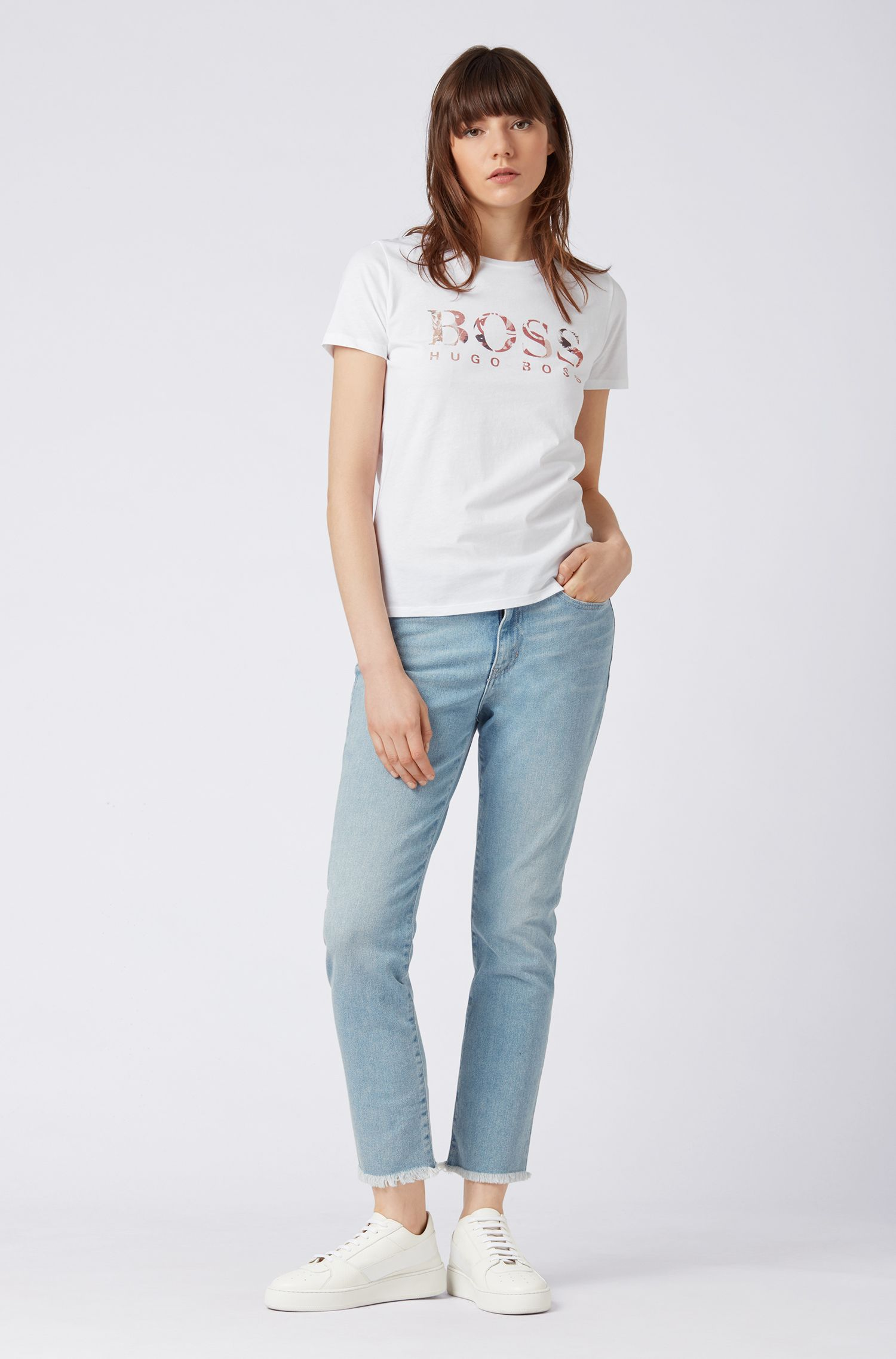 Slim-fit logo T-shirt in washed cotton jersey, Natural