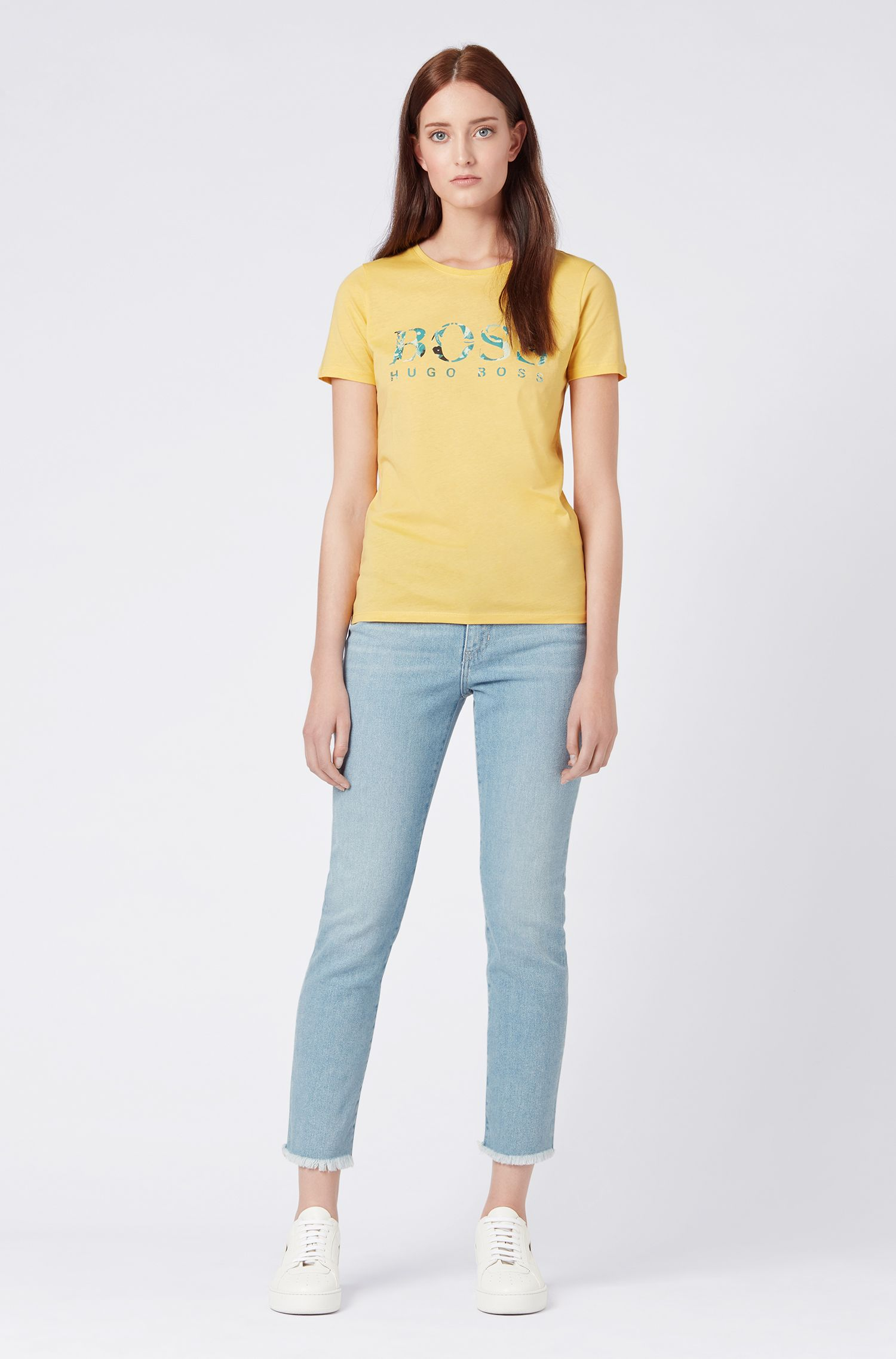 Slim-fit logo T-shirt in washed cotton jersey, Light Yellow