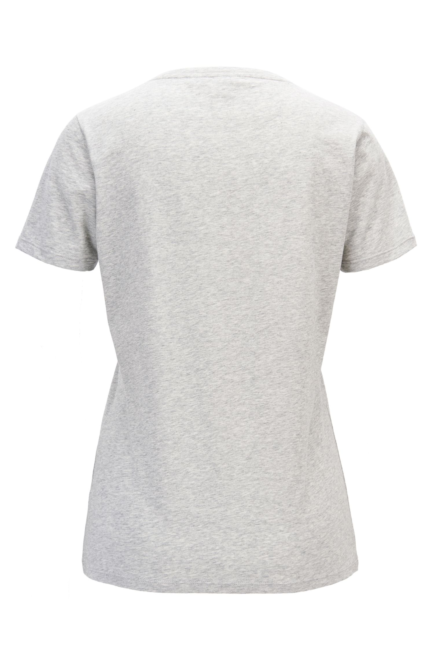 T-shirt en jersey de coton délavé à imprimé slogan mélangé