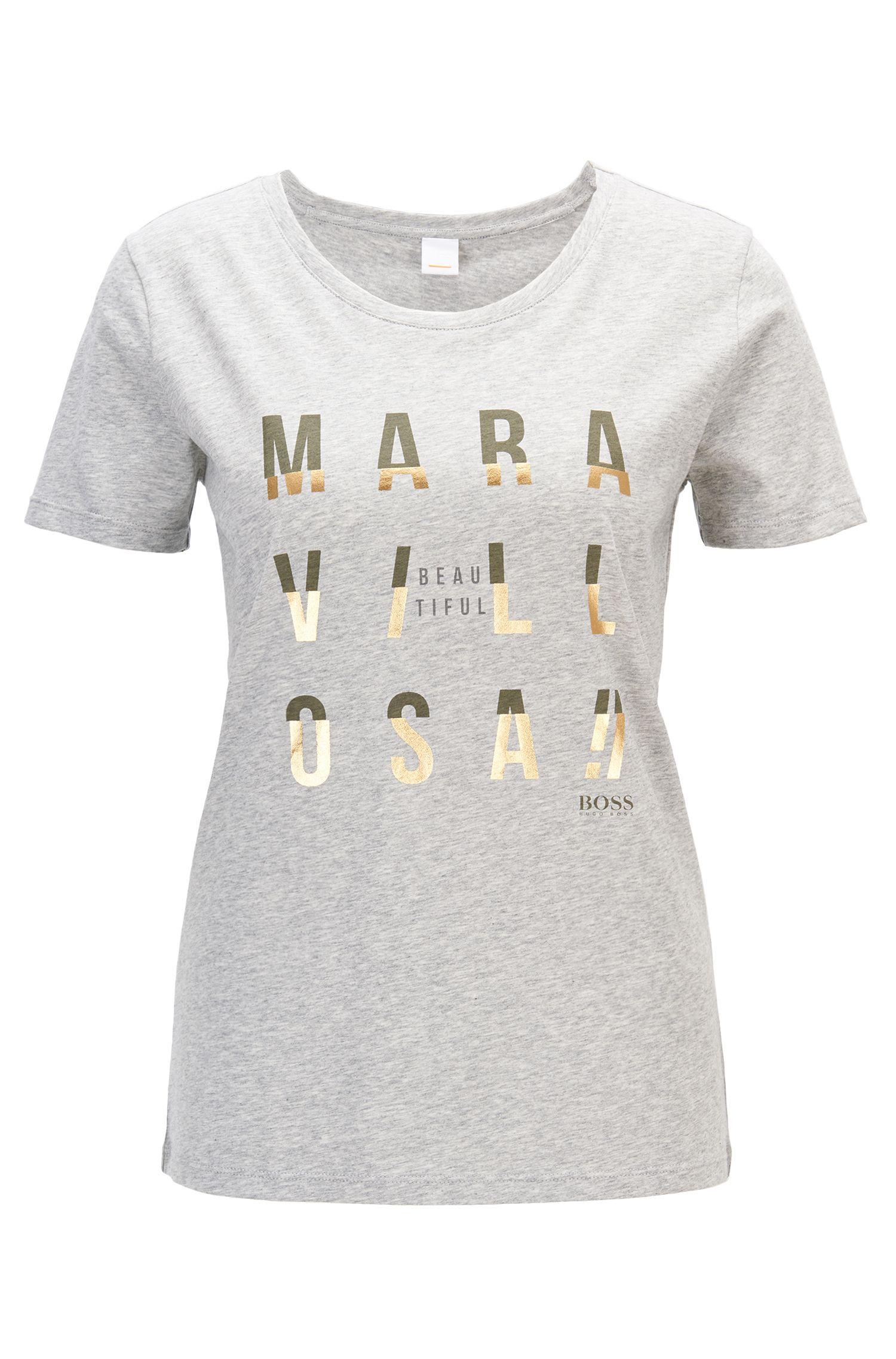 T-shirt con slogan stampati con tecniche miste in jersey di cotone lavato