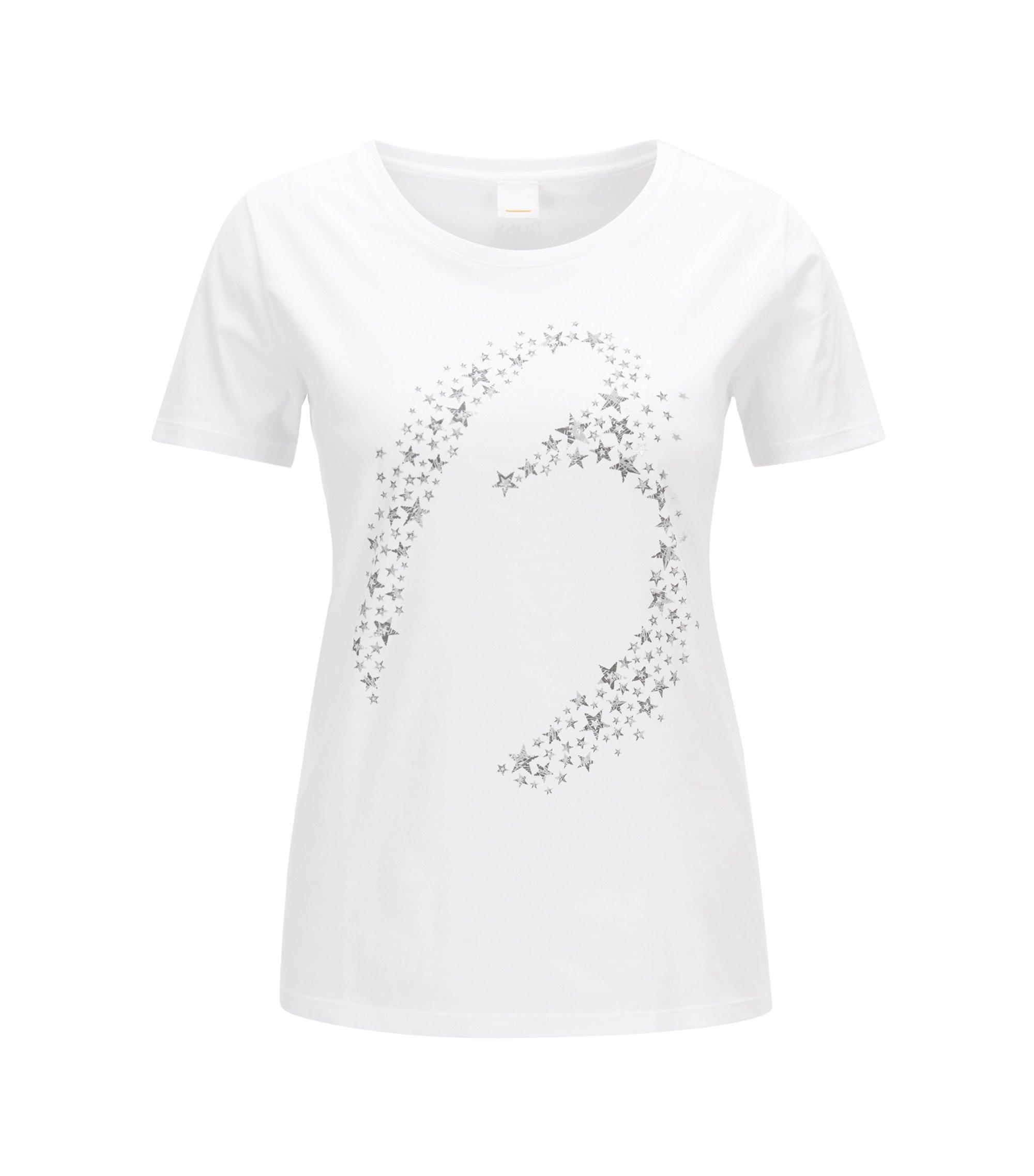 Slim-fit T-shirt van katoen met speelse sterrenprint, Wit