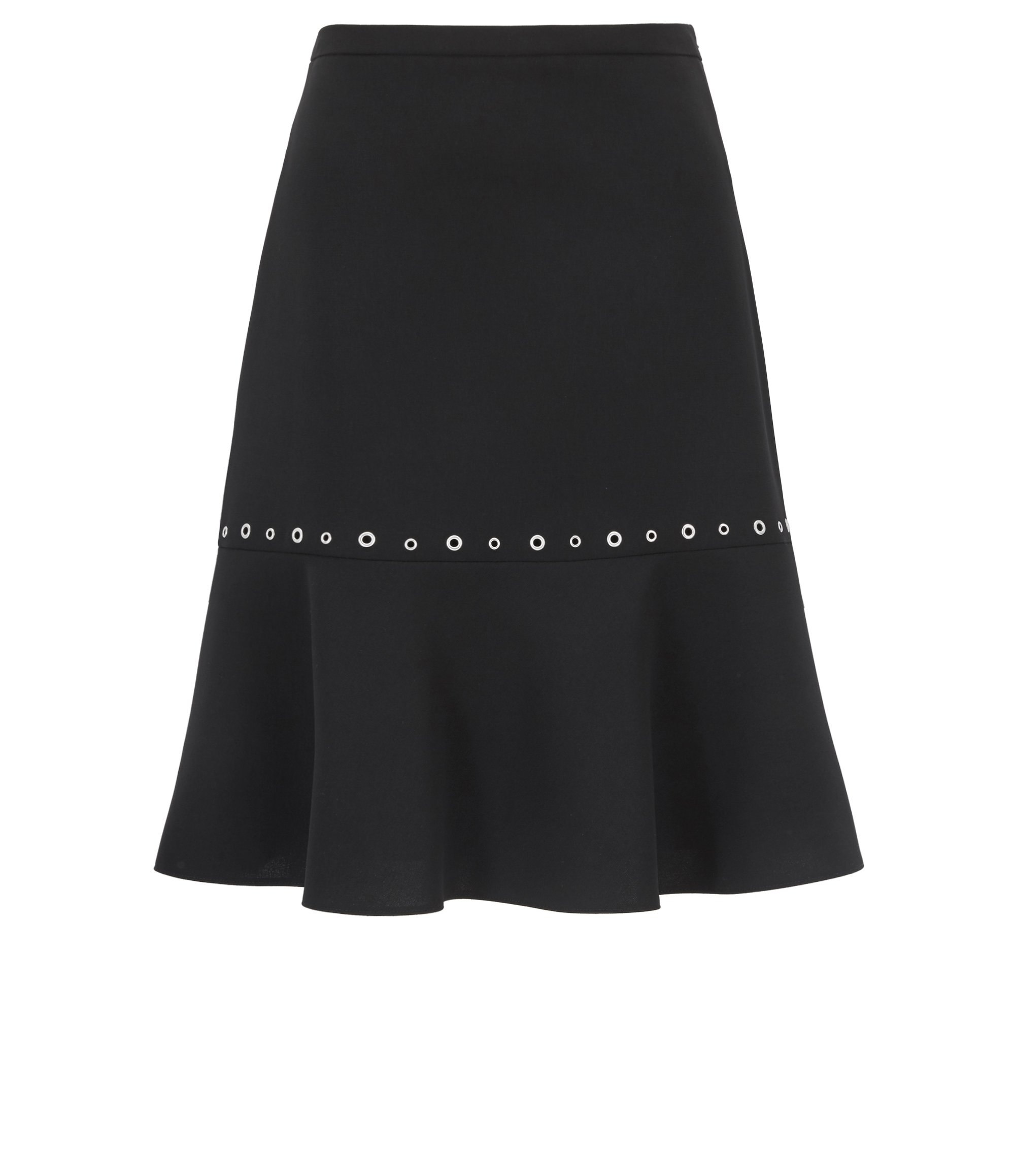 A-line skirt in crêpe with hardware details, Black