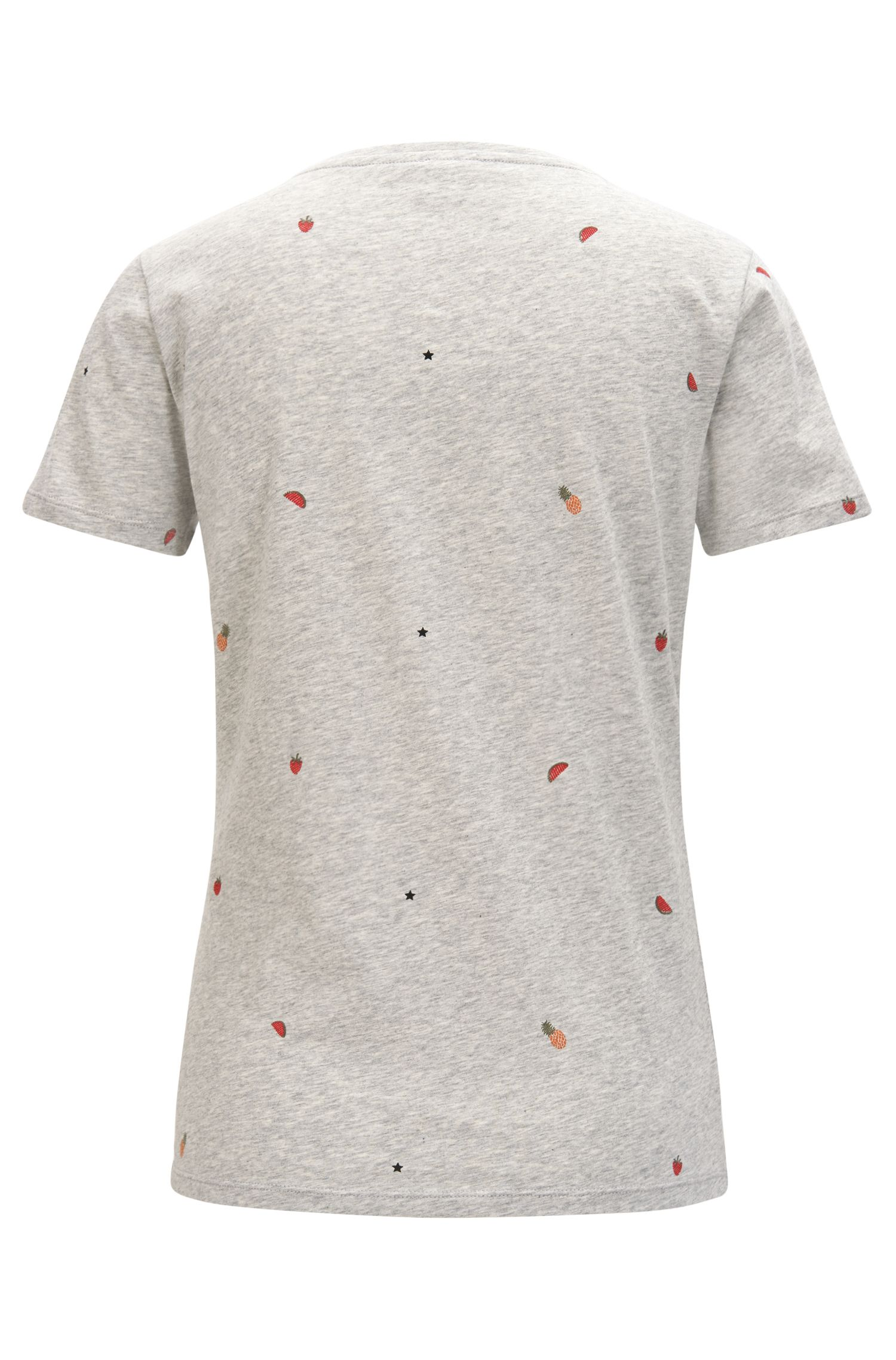 Slim-fit cotton T-shirt with fruit print