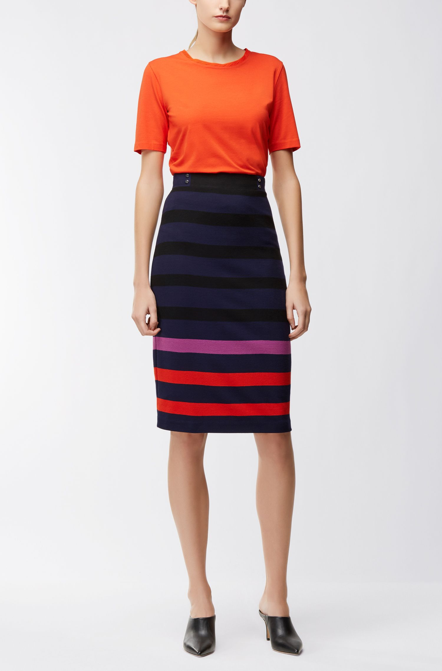 Multi-coloured stripe pencil skirt in interlock jersey