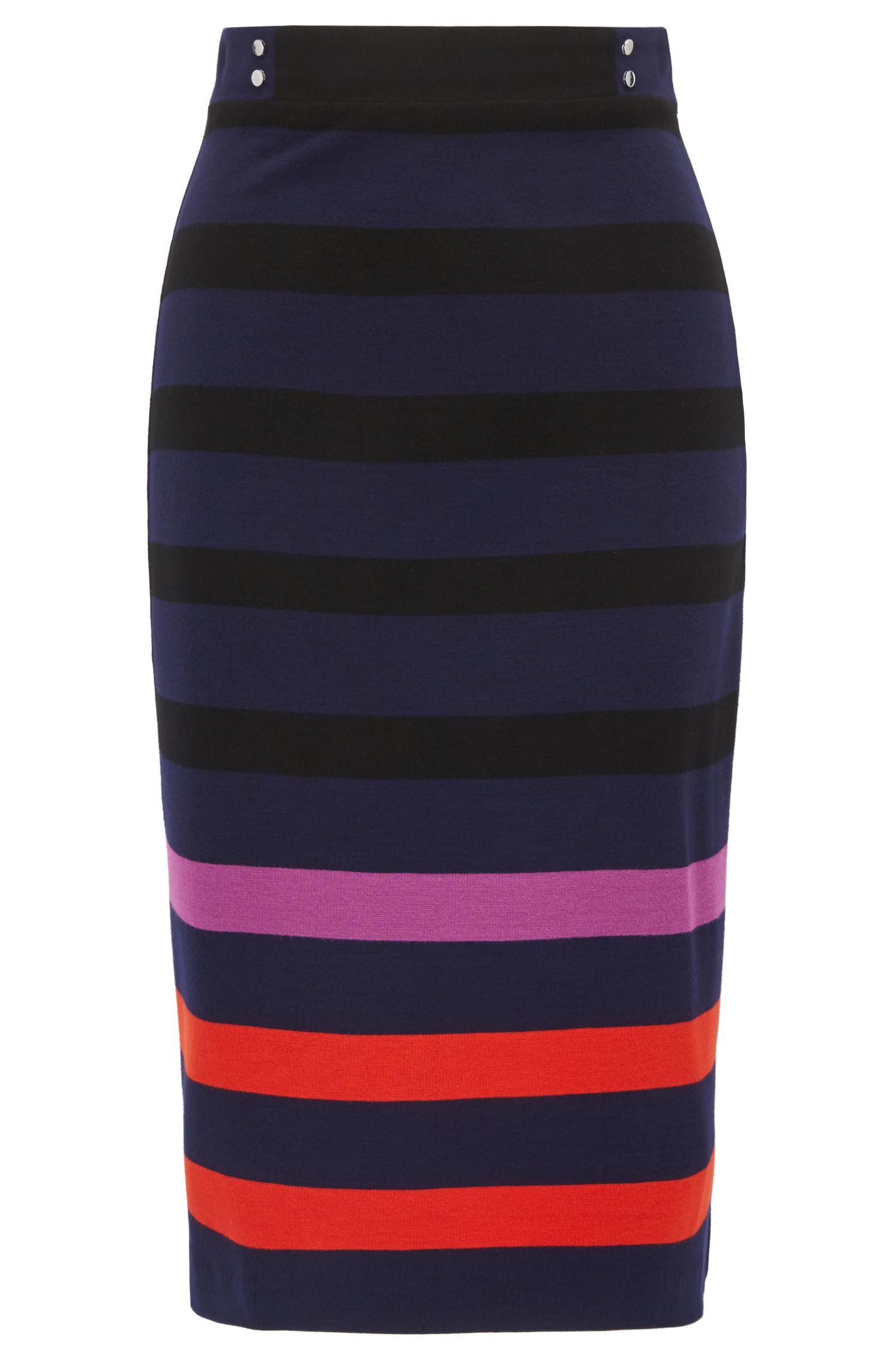 Bleistiftrock aus Jersey mit mehrfarbigen Streifen