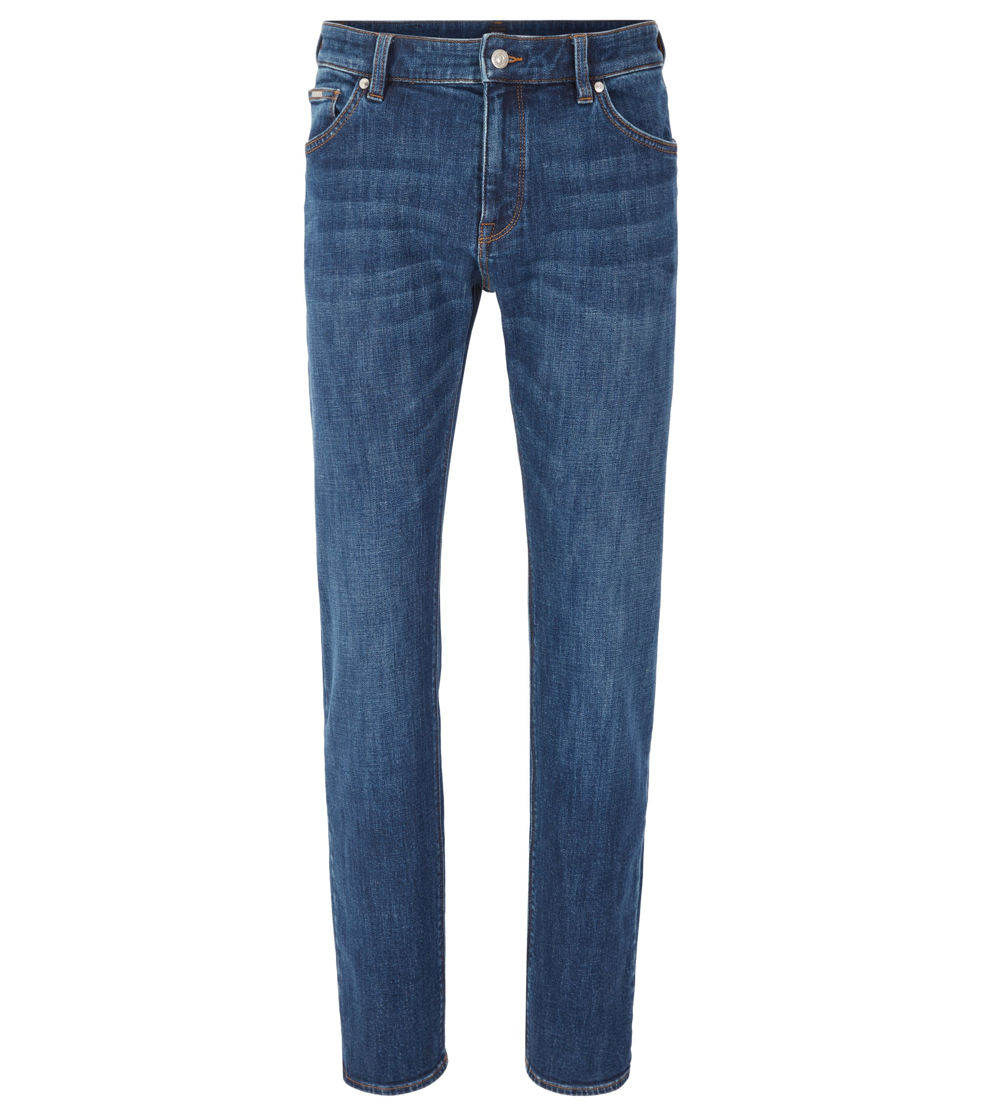 Regular-fit jeans in mid-blue stretch denim, Dark Blue