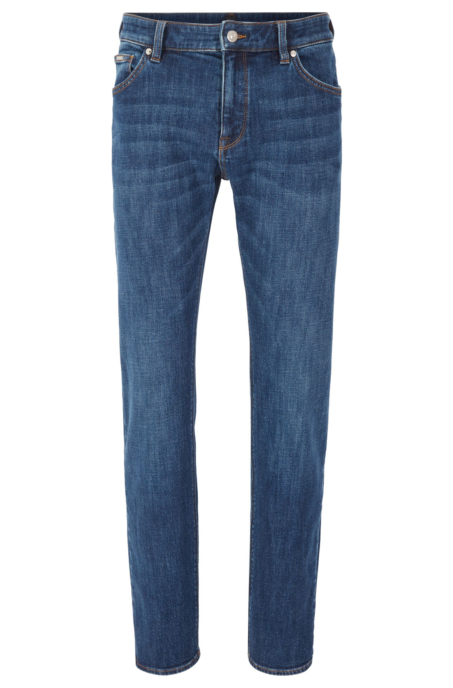 Regular-fit jeans in mid-blue stretch denim