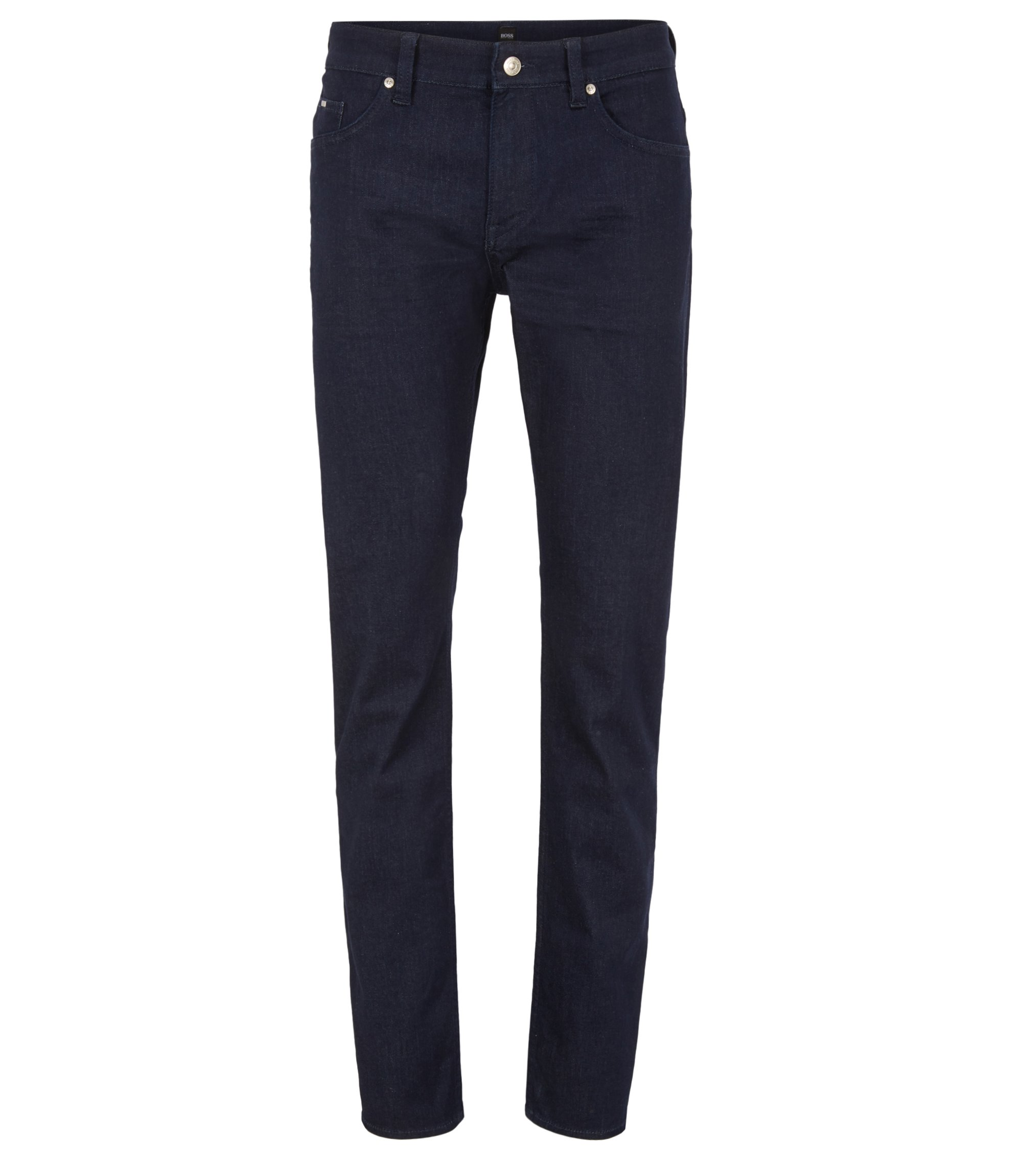 Slim-fit dark-blue jeans in comfort-stretch denim, Dark Blue