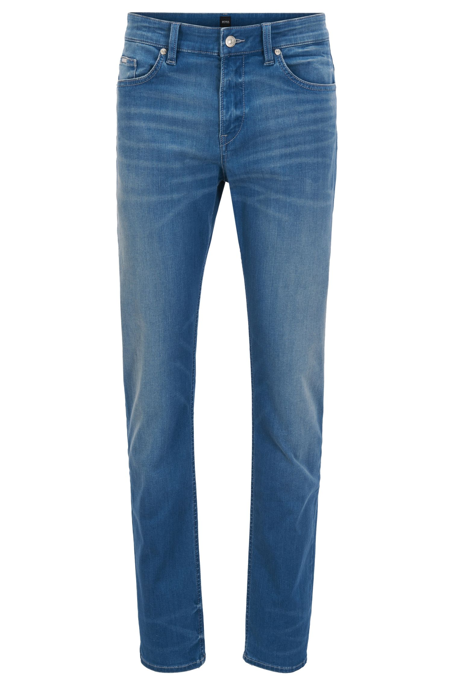 Slim-fit jeans van indigo stretchdenim